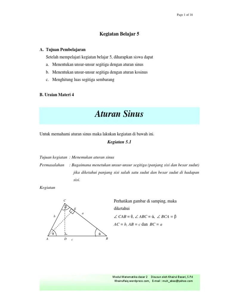 Aturan Sinus Cosinus Dan Luas Segitiga : aturan, sinus, cosinus, segitiga, Aturan, Segitiga
