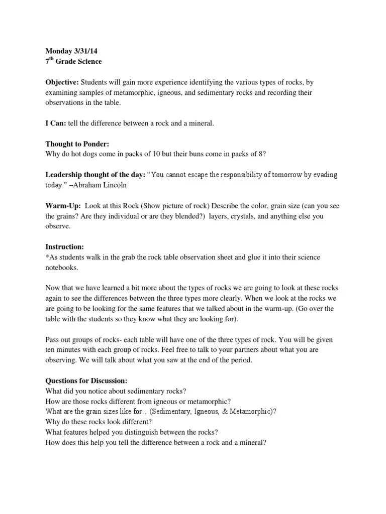 medium resolution of 7th Grade Science Lesson