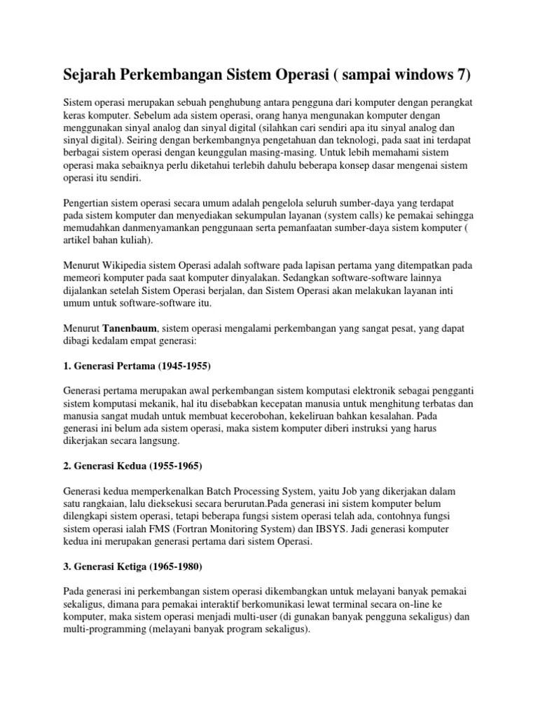 Sejarah dan Perkembangan Sistem Operasi - Ihsan Sanusite