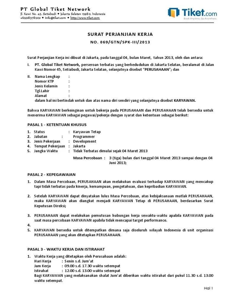 Contoh Kontrak Karyawan Tetap
