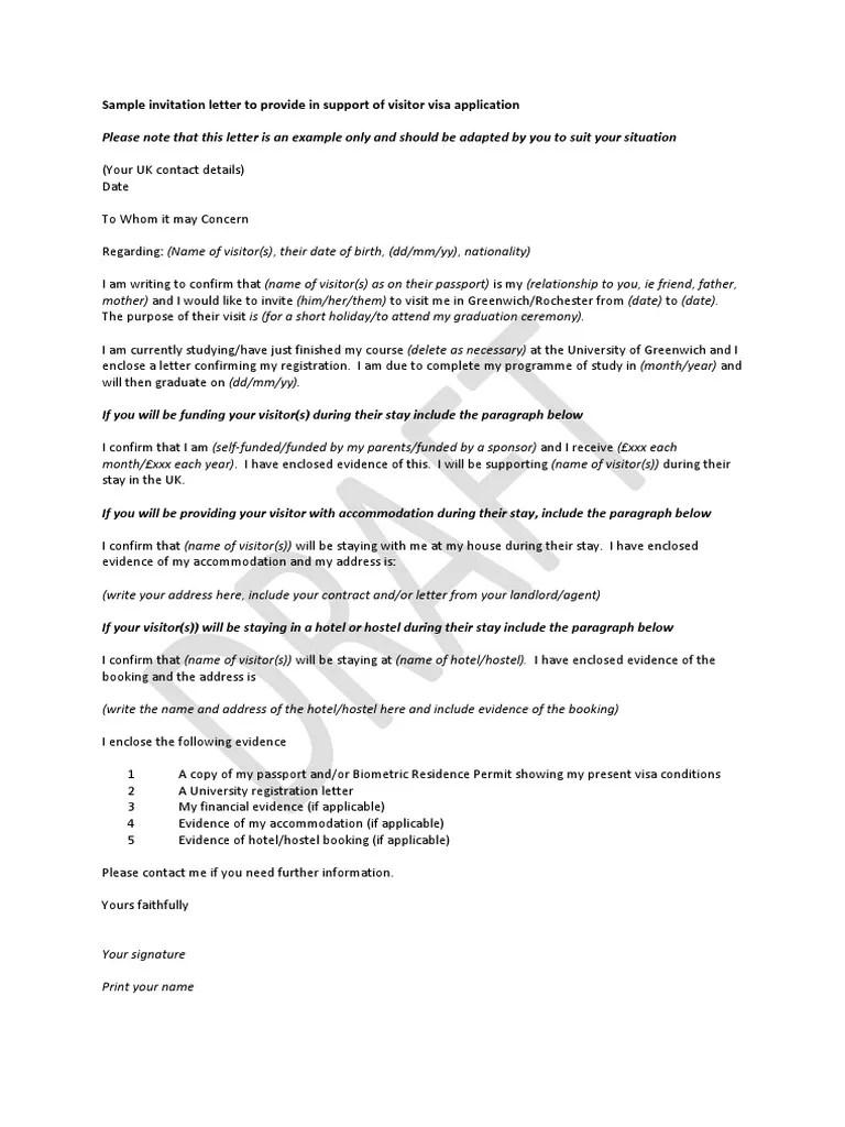 sample invitation letter to provide in