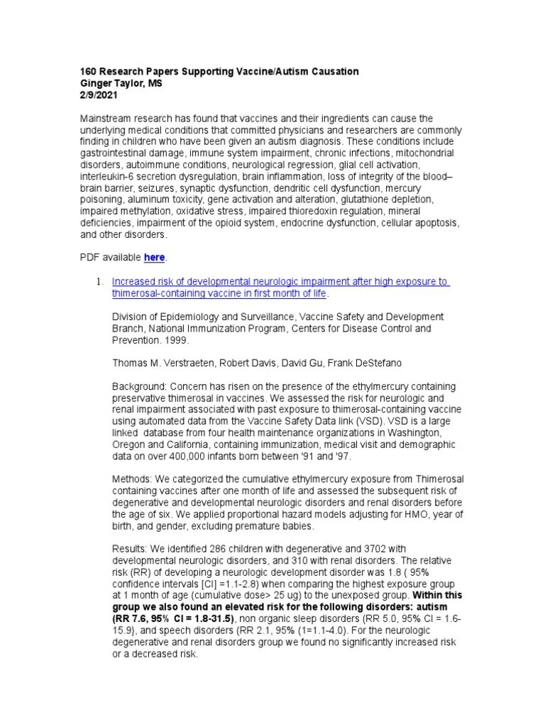 Essay About Autism 130 Research Papers Supporting The Vaccine Autism