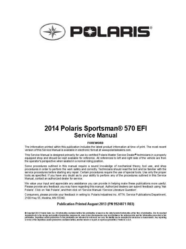 medium resolution of polaris 570 sportsman service manual transmission mechanics fuel injection