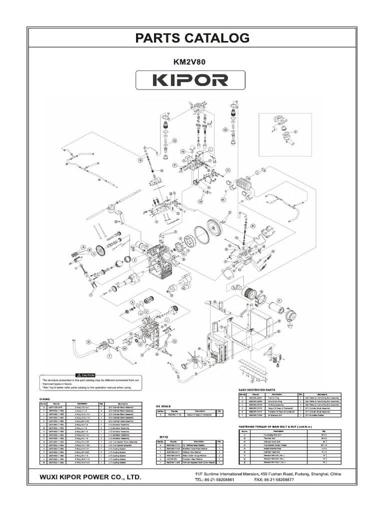 Catalogo de Partes Motor Kipor KM2V80