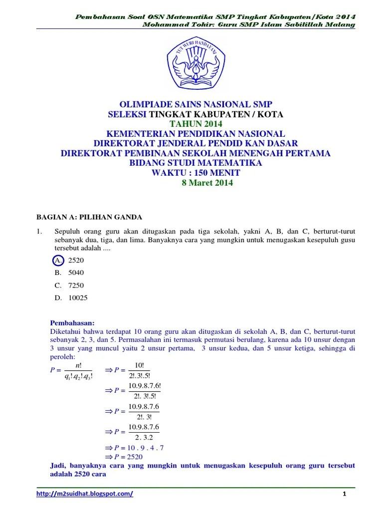 Soal Olimpiade Matematika Smp Dan Pembahasan : olimpiade, matematika, pembahasan, Pembahasan, Matematika, Tingkat, [Bagian