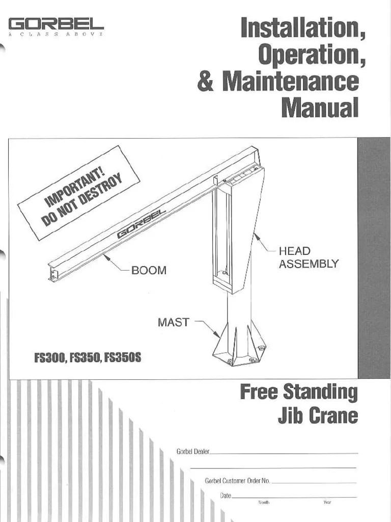 medium resolution of gorbel freestanding jib crane manual crane machine implied warranty