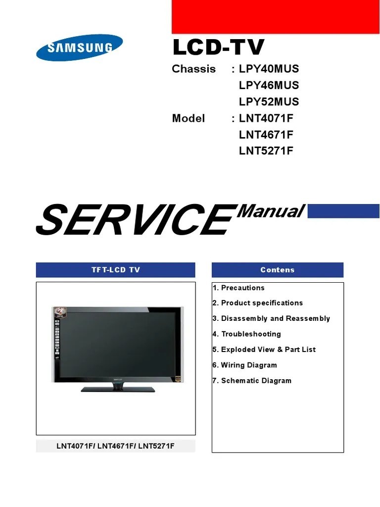 samsung lnt4071f lnt4671f lnt5271f parts and service manual electrostatic discharge thin film transistor liquid crystal display [ 768 x 1024 Pixel ]