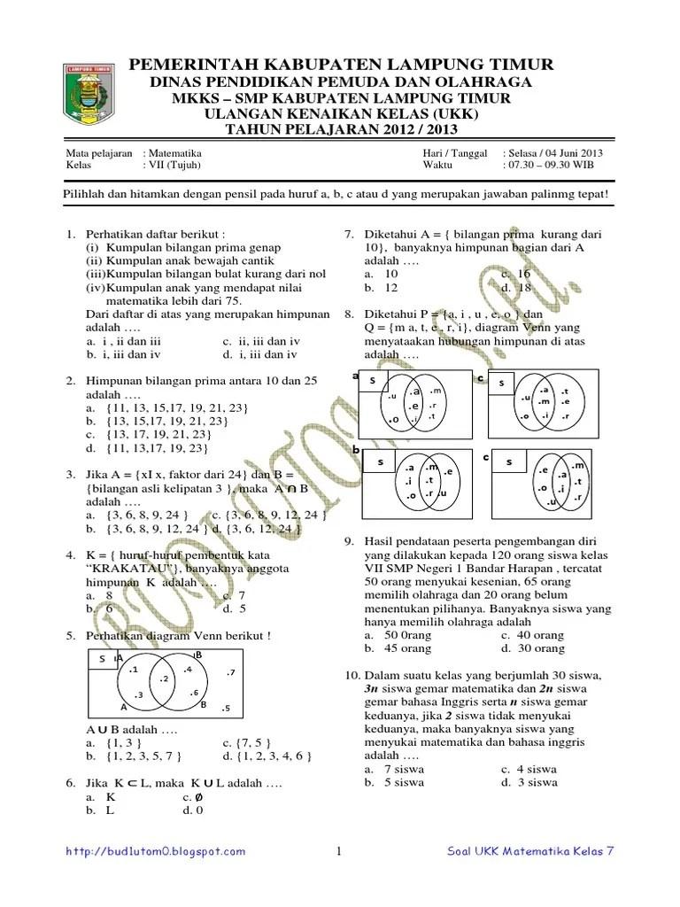 Soal Matematika Kelas 7 Semester 1 Kurikulum 2013 : matematika, kelas, semester, kurikulum, Matematika, Kelas, Kurikulum