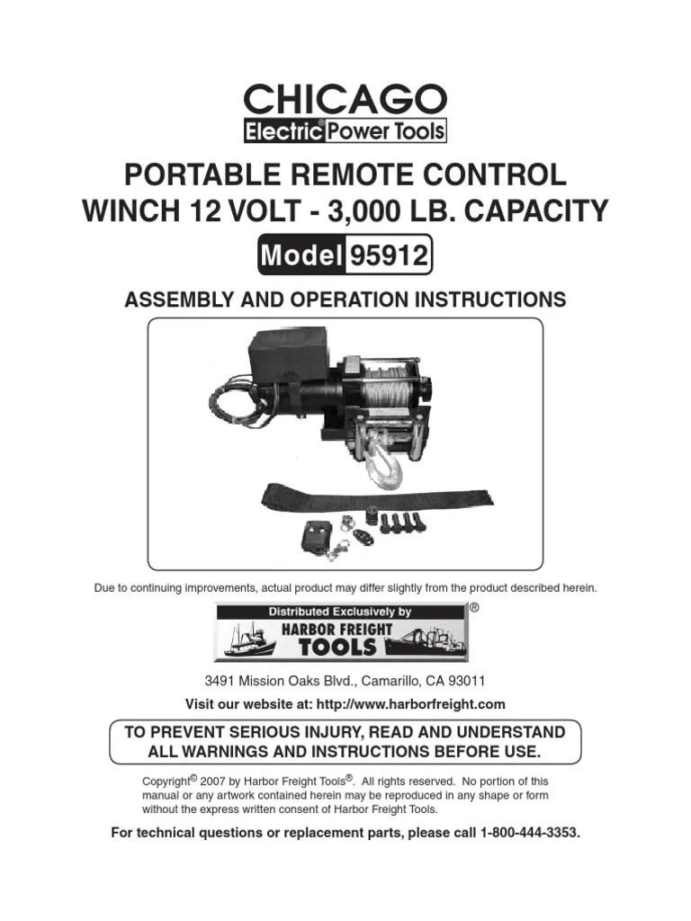 chicago portable remote control winch 12 volt 300 lb model 9512 screw cable [ 768 x 1024 Pixel ]