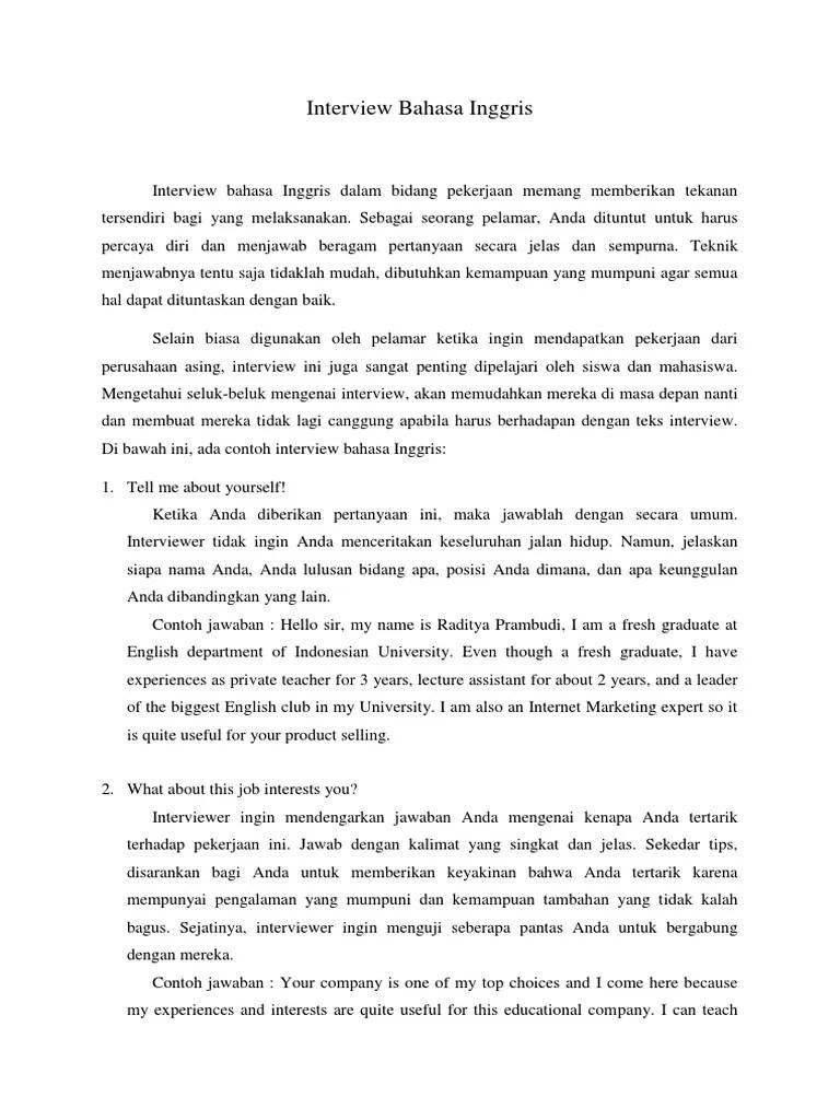 Contoh Teks Interview : contoh, interview, Contoh, Interview, Dalam, Bahasa, Inggris, Berbagai