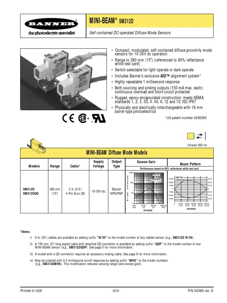 banner sm312dqd datasheet bipolar junction transistor electrical rh es scribd com 5 pin cdi wire diagram 5 pin din pinout [ 768 x 1024 Pixel ]