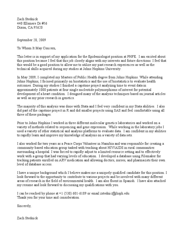 Epidemiologist Cover Letter