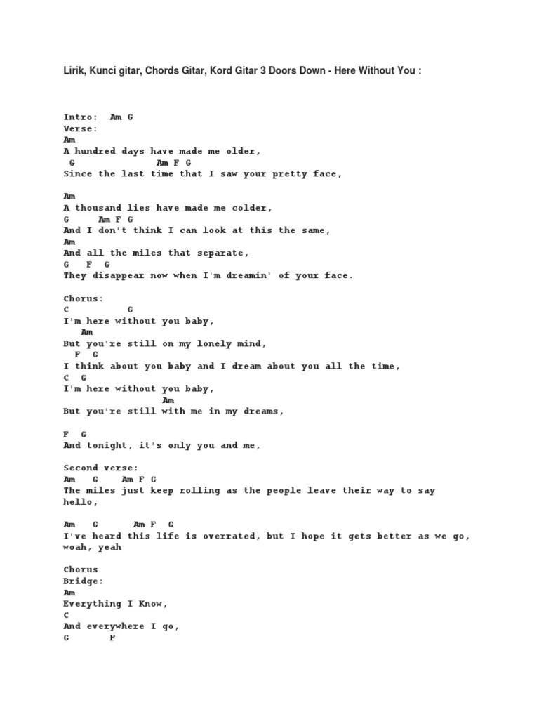Lirik Lagu Here Without You : lirik, without, Lirik, Structure