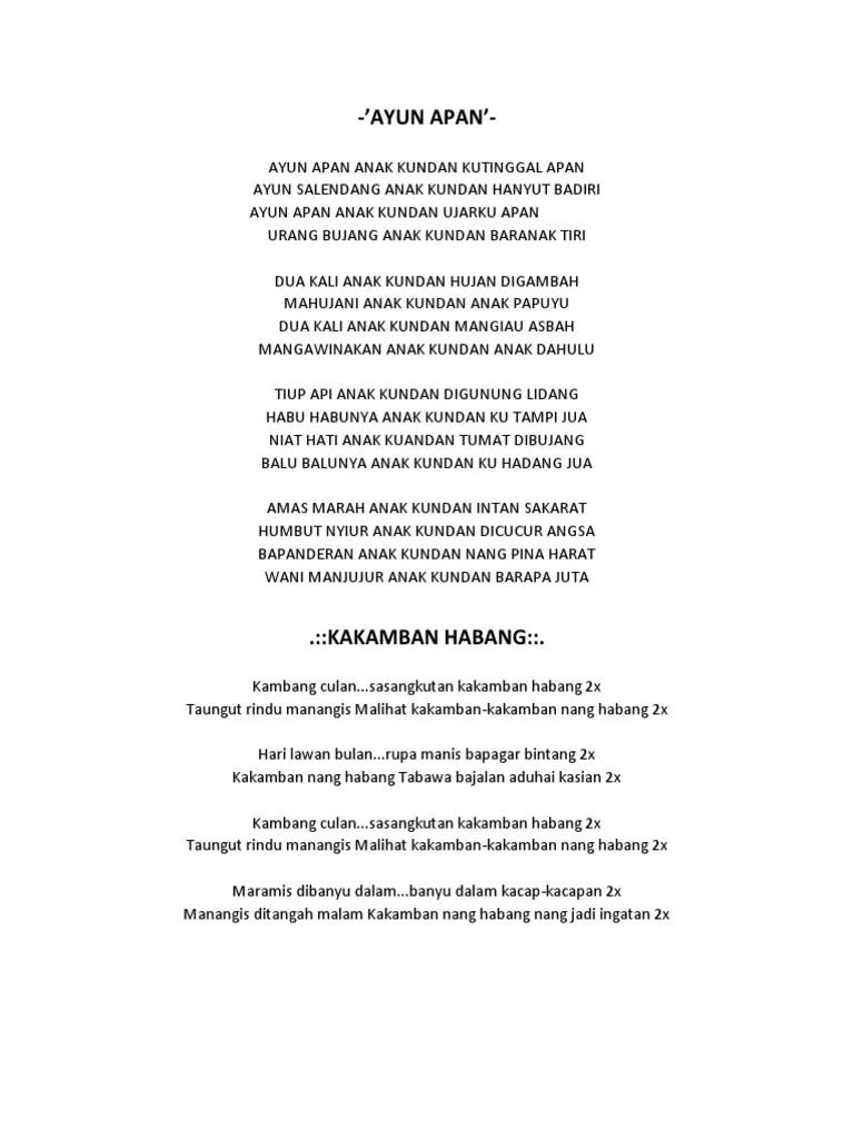 Lirik Cincin Kawin : lirik, cincin, kawin, Lirik, Banjar