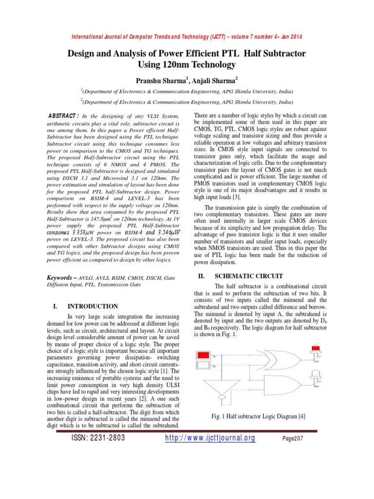 medium resolution of design and analysis of power efficient ptl half subtractor using 120nm technology cmos semiconductor devices