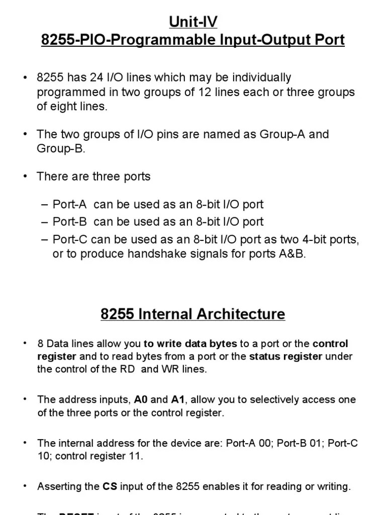hight resolution of unit iv 8255 pio programmable input output port analog to digital converter electrical engineering