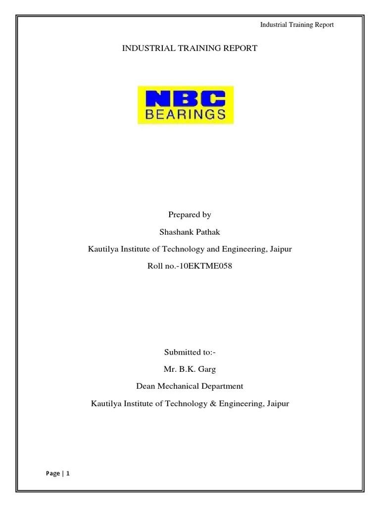 Industrial Training Report | Bearing (Mechanical) | Heat Treating