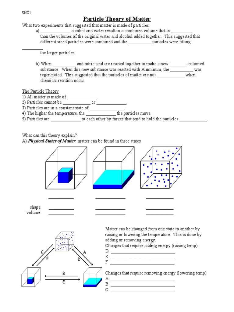 hight resolution of Particle Theory Worksheets   Matter   Mixture