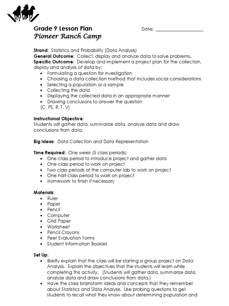 investigation lesson plan grade 8   Data Analysis   Data [ 1024 x 768 Pixel ]