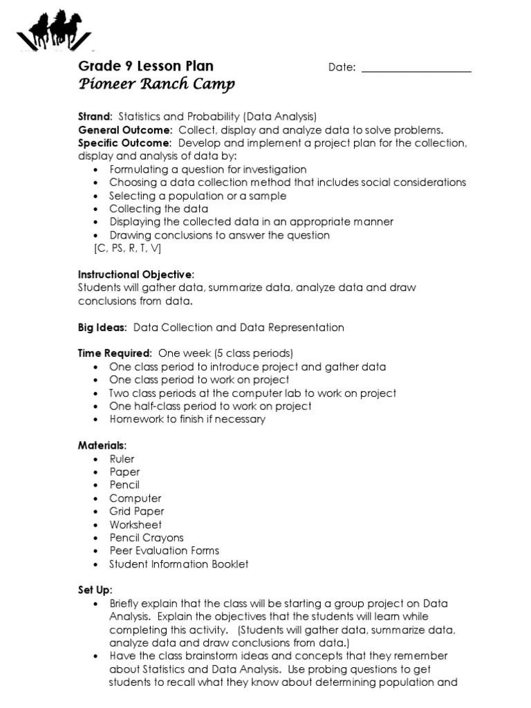 small resolution of investigation lesson plan grade 8   Data Analysis   Data