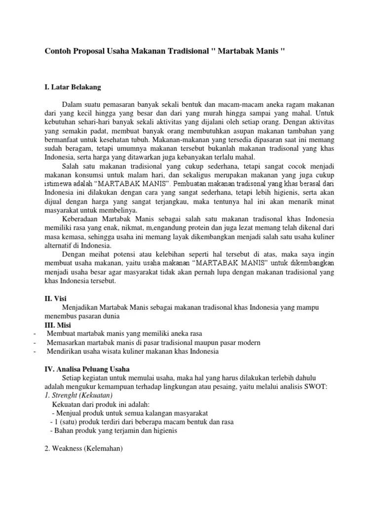 Proposal Makanan Khas Daerah : proposal, makanan, daerah, Contoh, Proposal, Usaha, Makanan, Tradisional