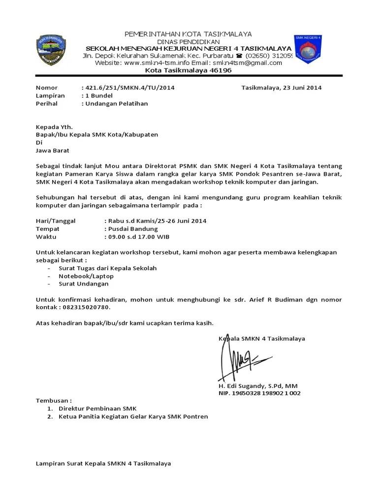 PDF Contoh Surat Undangan Seminar Dan Workshop Resmi