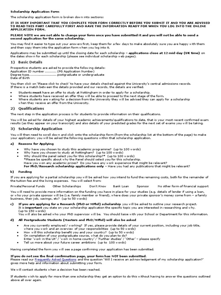 Application Form Questions | Doctor Of Philosophy | Postgraduate Education