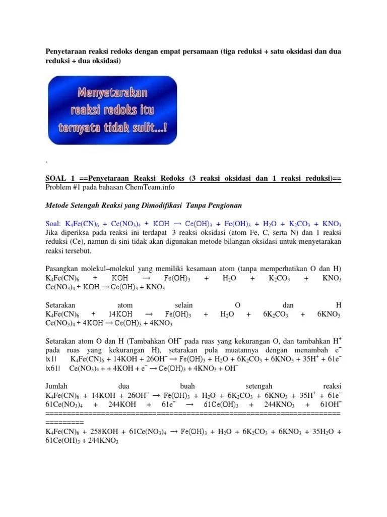 Metode Setengah Reaksi : metode, setengah, reaksi, Penyetaraan, Reaksi, Redoks, Dengan, Empat, Persamaan