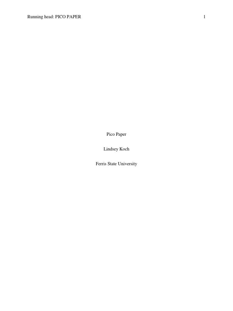 Pico Paper Anxiety Nursing