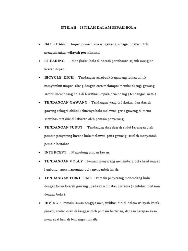 100 Istilah Dalam Sepak Bola : istilah, dalam, sepak, ISTILAH, Sepak