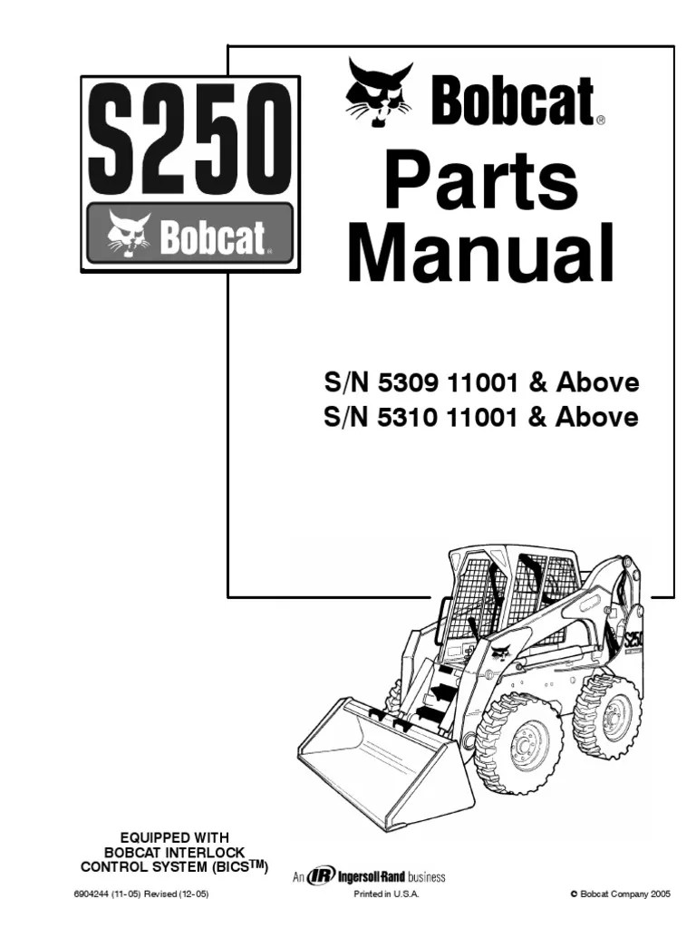 hight resolution of bobcat s250 parts manual2005 bobcat t190 parts diagram 20