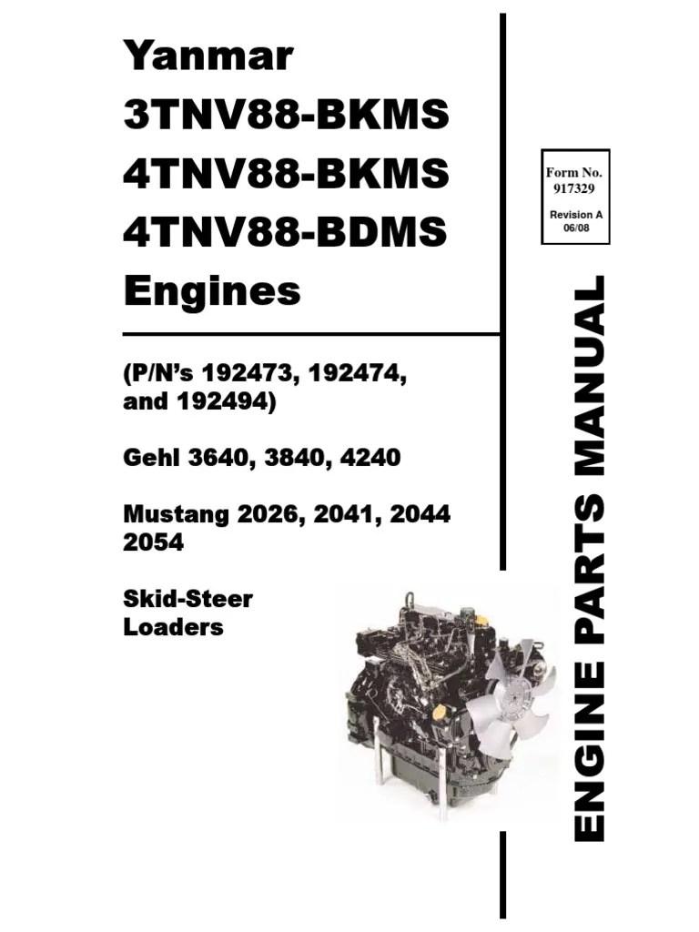 hight resolution of sl3640 sl3840 sl4240 skid loader yanmar 3tnv88 4tnv88 engine parts manual 917329