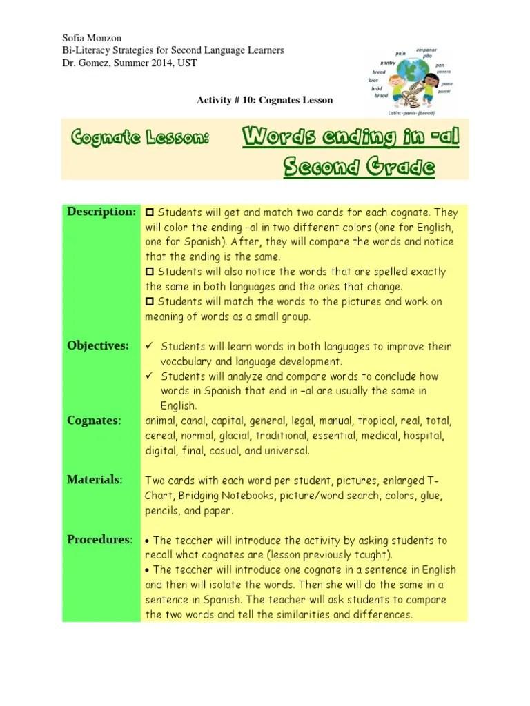 activity 10 cognate lesson plan   Second Language   English Language [ 1024 x 768 Pixel ]