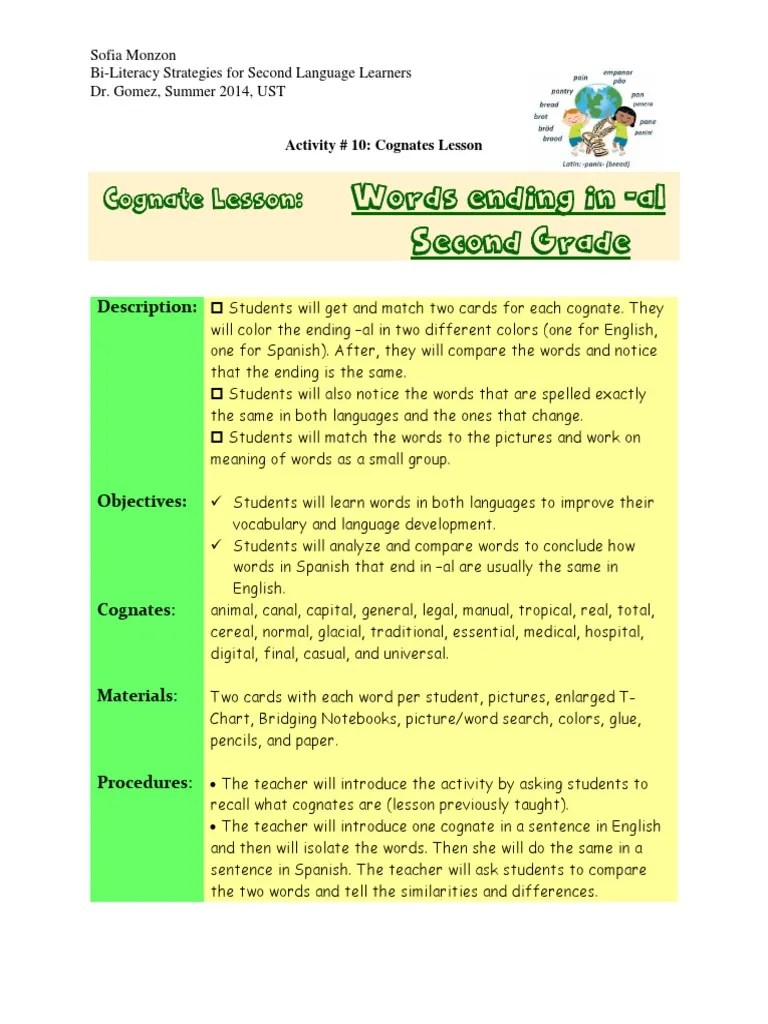 hight resolution of activity 10 cognate lesson plan   Second Language   English Language