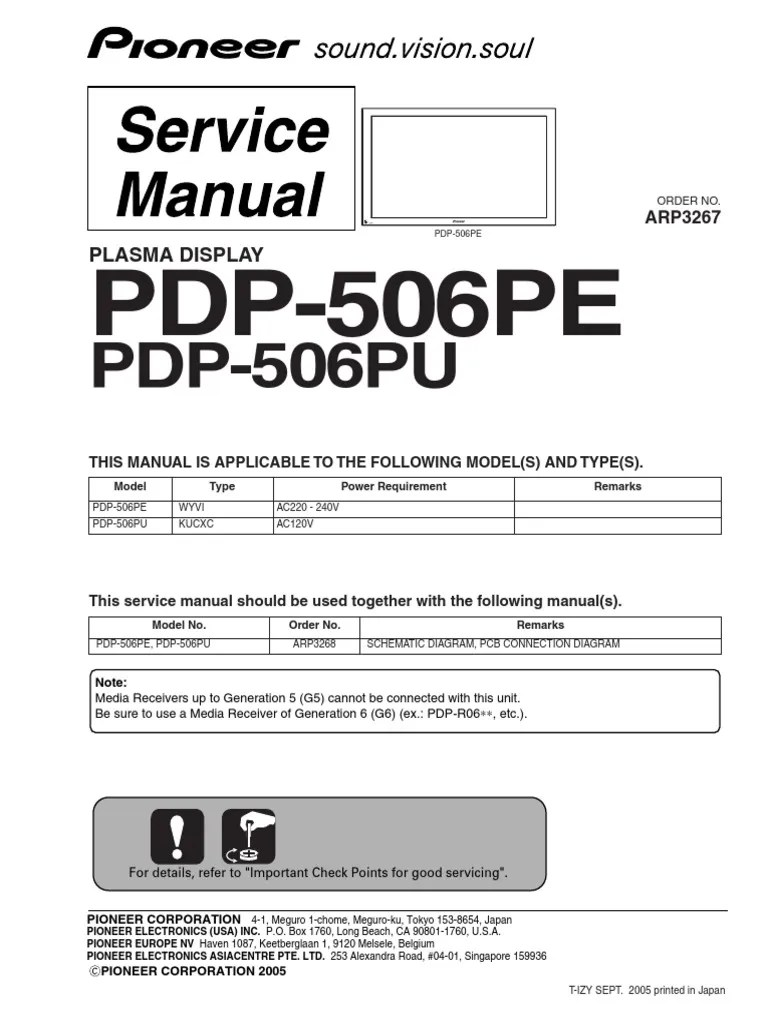 medium resolution of pioneer pdp 506pe pu arp3267 plasma tv sm electrical connector power supply