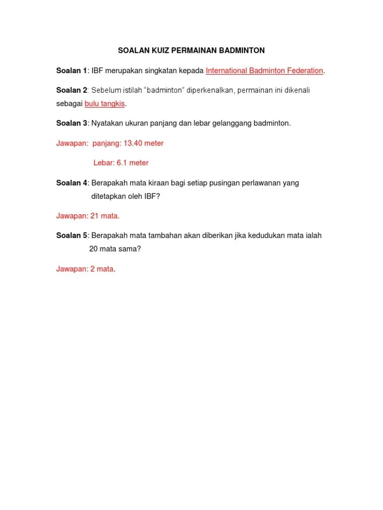 Istilah Bulu Tangkis : istilah, tangkis, Soalan, Permainan, Badminton