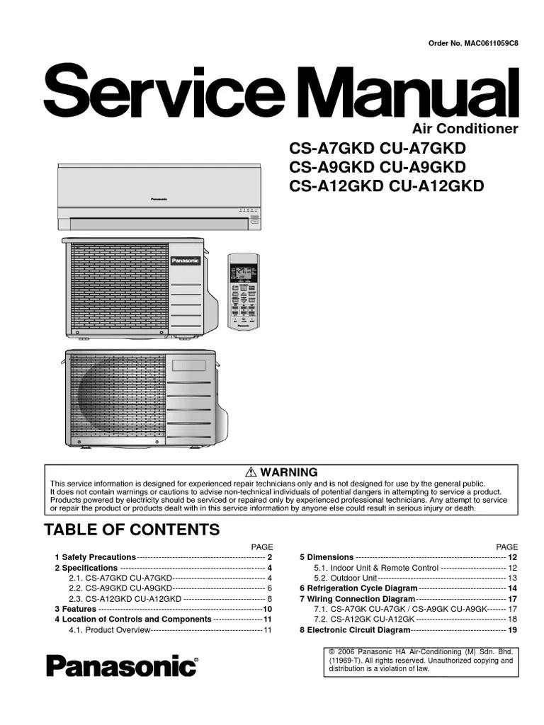 panasonic cs a7gkd cs a9gkd cs a12gkd series service manual repair guide air conditioning mechanical fan [ 768 x 1024 Pixel ]