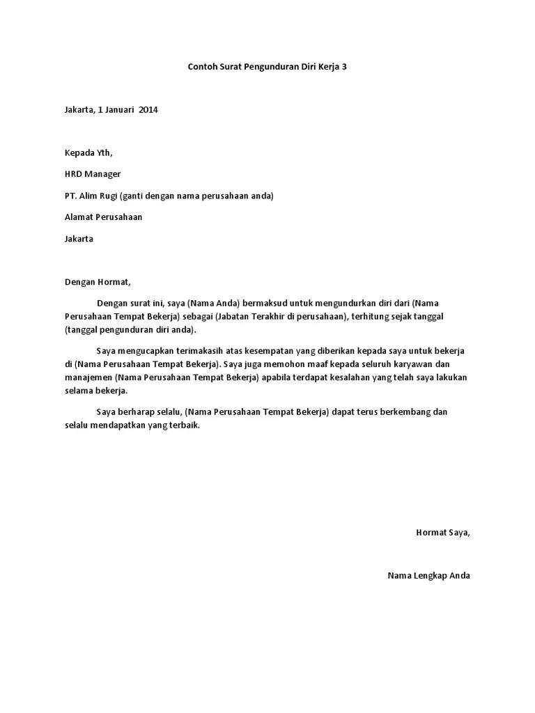 Contoh Surat Mengundurkan Diri : contoh, surat, mengundurkan, Kumpulan, Contoh, Surat, Pengunduran, Kerja, Benar