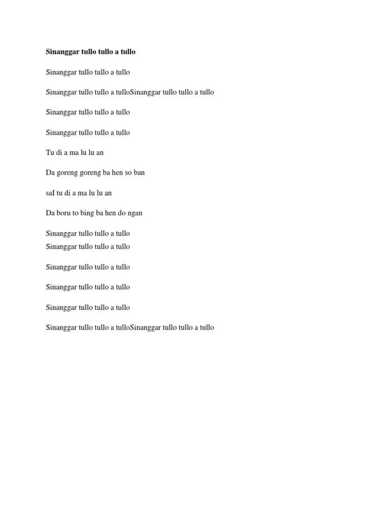 Lirik Sinanggar Tulo : lirik, sinanggar, Lirik, Medley