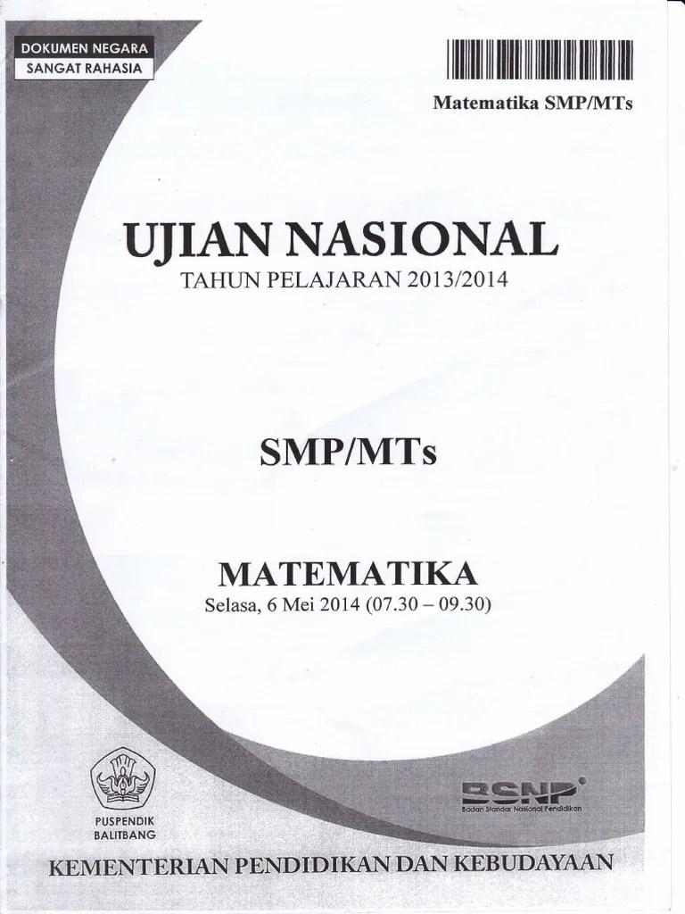 Bank Soal Unas Matematika SMP - Matematika Study Center