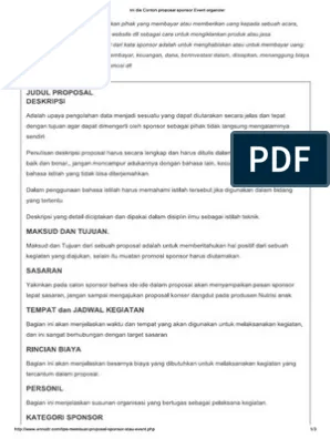 Proposal Sponsorship Contoh : proposal, sponsorship, contoh, Contoh, Proposal, Sponsor, Event, Organizer