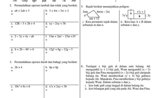 Soalan Matematik Tingkatan 2 Dan Jawapan Kuora J Cute766