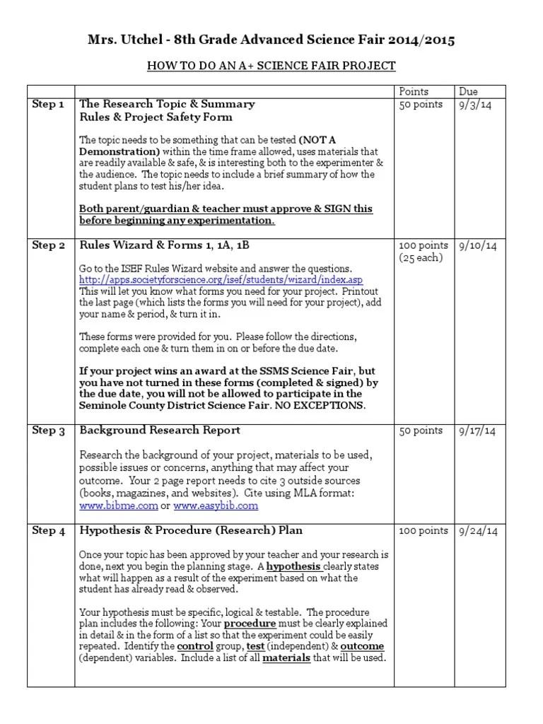 Science Fair Handout 2014 Fran Experiment Hypothesis
