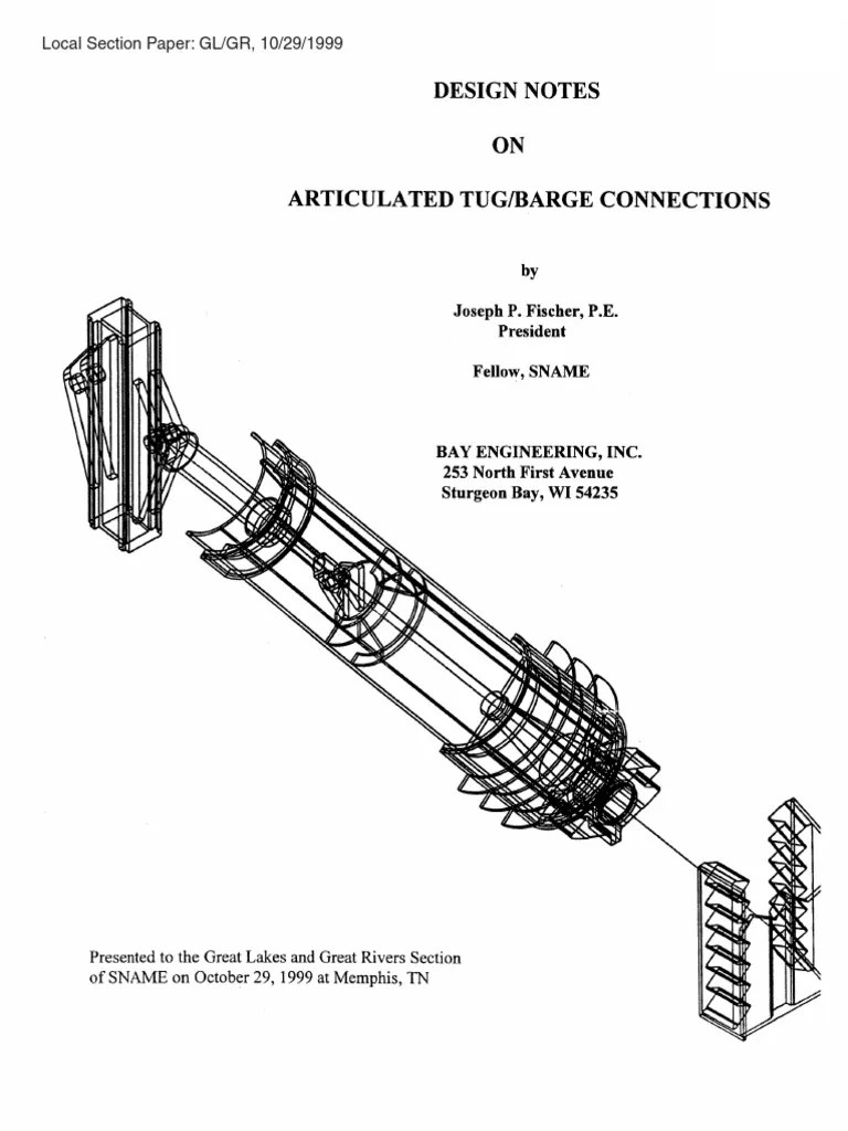 small resolution of design notes on articulated tug barge connections pdf structural load tugboat