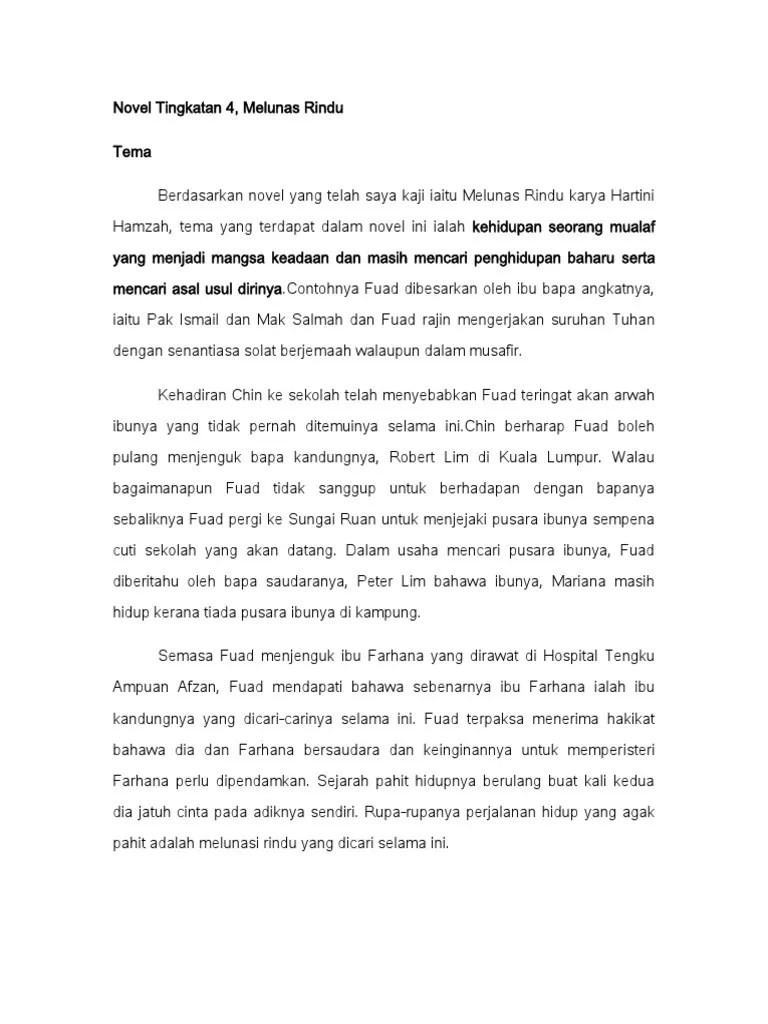 Tema Novel : novel, Novel, Tingkatan, 4-Tema