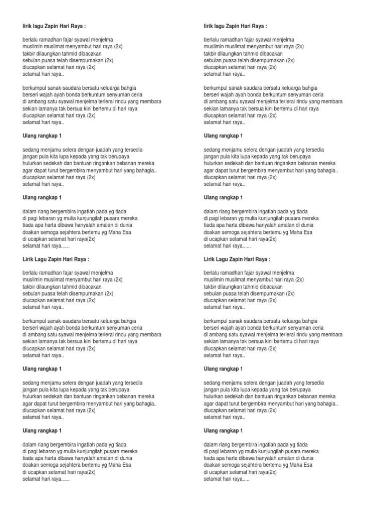 Lirik Lagu Selamat Hari Lebaran : lirik, selamat, lebaran, Lirik, Zapin