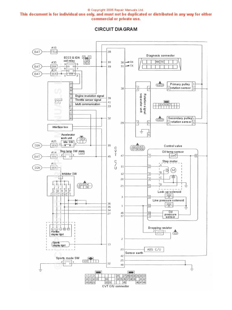 Nissan CVT Wiring Diagram | Throttle | Electrical Components