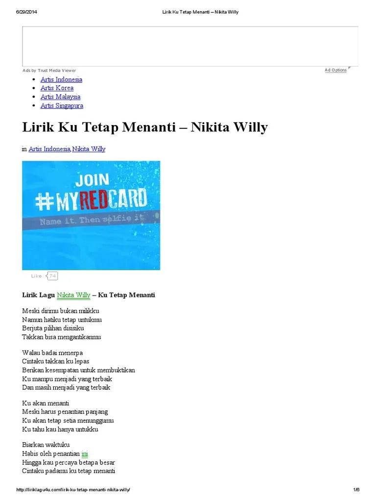 Nikita Willy Ku Tetap Menanti Lagu MP3 dan MP4 Video