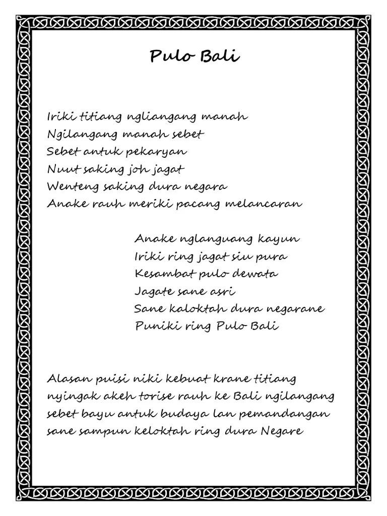 Pantun Bahasa Bali : pantun, bahasa, Puisi, Bahasa, Cute766