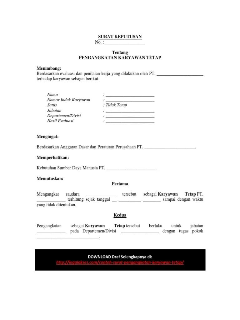 Contoh Surat Pengangkatan Karyawan Tetap Pdf